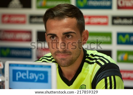 Valencia, Spain, September 8, 2014: Paco Alcacer during EURO 2016 Group C European Qualifiers game between Spain and FYR Macedonia at Estadio Ciutat de Valencia on September 8, 2014 in Valencia, Spain - stock photo