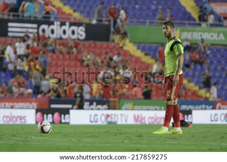 Valencia, Spain, September 8, 2014: Sergio Ramos during EURO 2016 Group C European Qualifiers game between Spain and Macedonia at Estadio Ciutat de Valencia on September 8, 2014 in Valencia, Spain