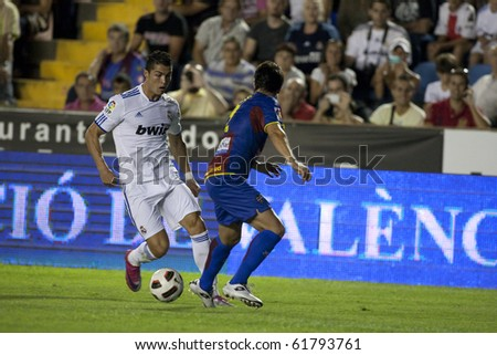 VALENCIA, SPAIN - SEPTEMBER 25 :Spanish Professional Soccer League, Levante U.D. vs Real Madrid - Ciudad de Valencia Stadium - Cristiano Ronaldo - Spain on September 25, 2010 in Valencia.