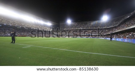 VALENCIA, SPAIN - SEPTEMBER 21:Stadium Panoramic view in the Spanish Soccer League between Valencia C.F. vs F.C. Barcelona - Mestalla Luis Casanova Stadium - Spain on September 21, 2011 - stock photo