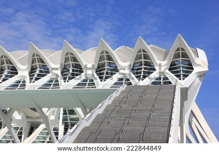 VALENCIA, SPAIN - SEPTEMBER 27, 2014: Stairs to the Science Museum building in the CAC City of Arts and Sciences in Valencia - stock photo