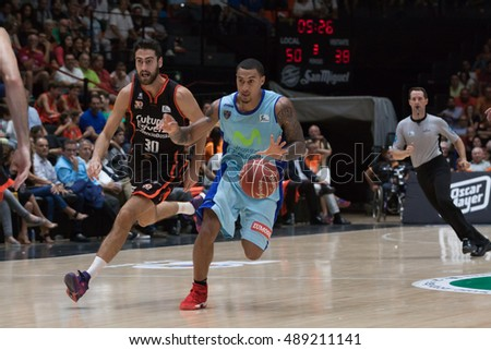 VALENCIA, SPAIN - SEPTEMBER 25th: Edwin with ball during match between Valencia Basket and Estudiantes at Fonteta Stadium on September 25, 2016 in Valencia, Spain