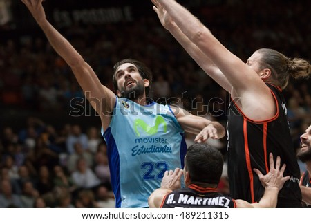 VALENCIA, SPAIN - SEPTEMBER 25th: (L) Grimau, (R) Bryant during match between Valencia Basket and Estudiantes at Fonteta Stadium on September 25, 2016 in Valencia, Spain