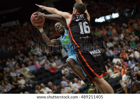 VALENCIA, SPAIN - SEPTEMBER 25th: Wilson with ball, (16) Vives during match between Valencia Basket and Estudiantes at Fonteta Stadium on September 25, 2016 in Valencia, Spain