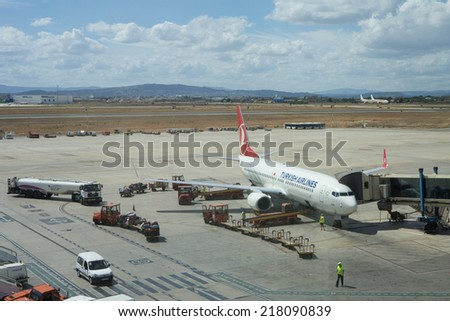 VALENCIA, SPAIN - SEPTEMBER 17, 2014:  Turkish Airlines aircraft at the Valencia Airport. Turkish Airlines is the national flag carrier airline of Turkey. - stock photo