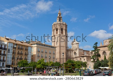 VALENCIA, SPAIN-SEPTEMBER 13, 2013: View of facade of the Cathedral Church.Valencia - the third by number of inhabitants the city of Spain after Madrid and Barcelona.