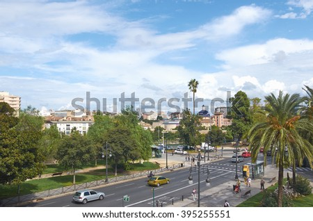 Valencia, Spain, September, 08, 2015, view of the city from the tower Serranos, Plaza Fueros with cars, slice of life, editorial.