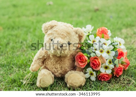 valentine and alone and bear and teddy and love and lonely and blur background