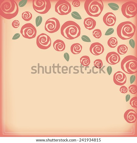 Valentine and wedding border bouquet of swirly roses - stock photo