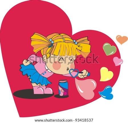 valentine baby girl blowing heart bubbles - stock photo