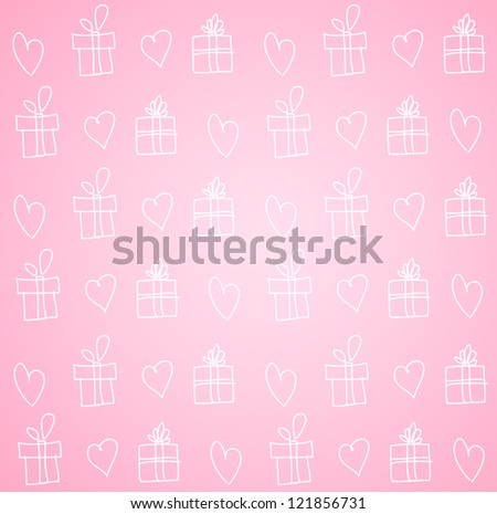 Valentine background: hearts and giftboxes ornament
