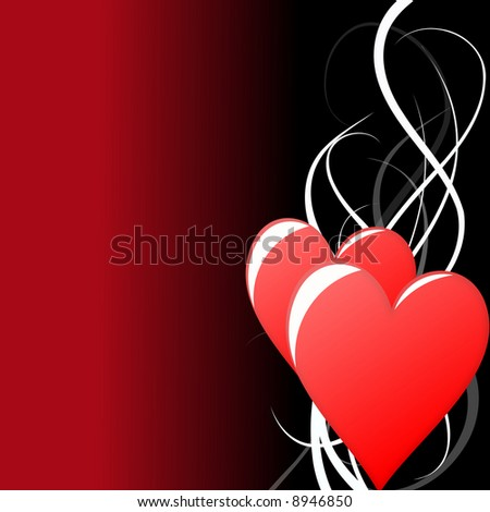 valentine background illustration formed by two hearts and swirl lines - stock photo