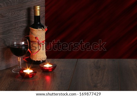 valentine background of wine and candle - stock photo