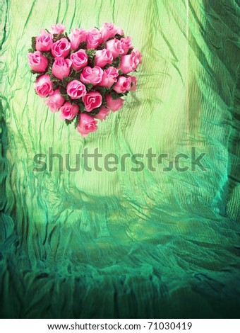 Valentine background with empty space for your text (window curtain with rose heart) - stock photo