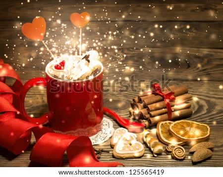 Valentine background with Fresh delicious cookies and cup - stock photo