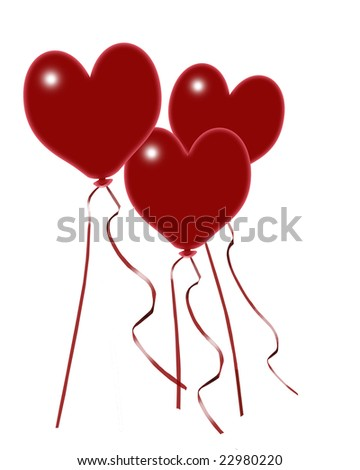 Valentine Balloons Isolated on White