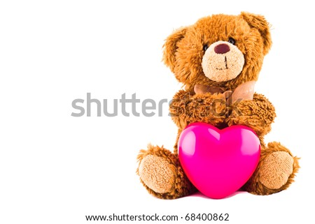 Valentine bear with heart  isolated on white - stock photo