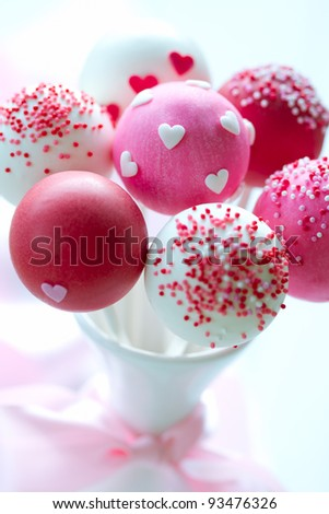 Valentine cake pops - stock photo
