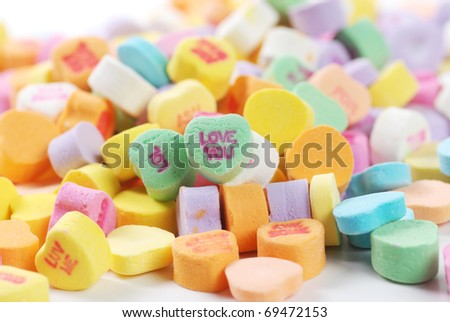 Valentine candies and deocrations - stock photo