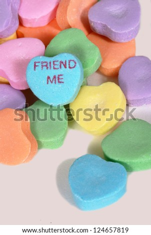 "Valentine candy hearts with ""Friend Me"" saying - stock photo"