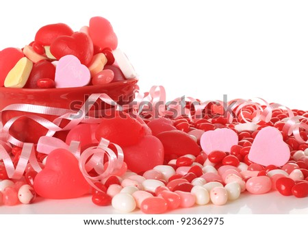 Valentine candy studio isolated on white.
