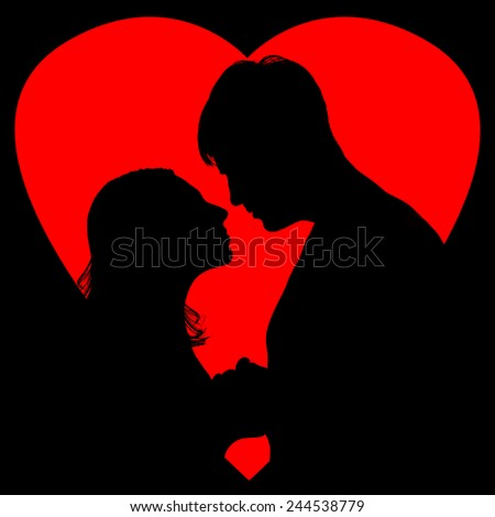 Valentine card design with silhouette of loving couple on red love background - stock photo