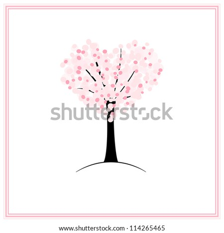 Valentine card with blossoming sakura tree in a shape of heart