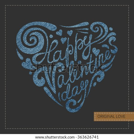 Valentine card with calligraphic lettering on denim background.  - stock photo