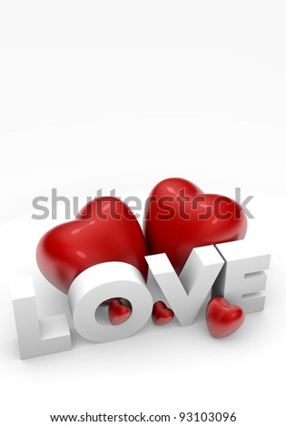 Valentine card with 3d hearts and Love text - stock photo