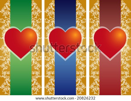 Valentine card with floral decoration and heart, vector illustration