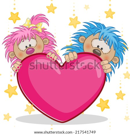 Valentine card with Lovers hedgehogs