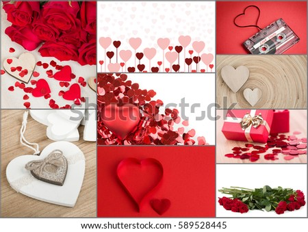 Valentine Collection, Collage Of Red Roses, Hearts And Presents. Love  Concept.