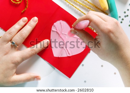 Valentine color card handmade from paper detail - stock photo