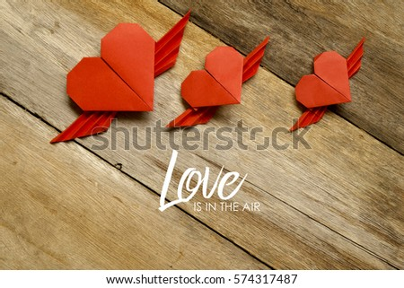 Valentine Concept Red Paper Origami Heart Stock Photo 574317487