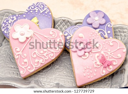 Valentine cookies decorated with heart shape