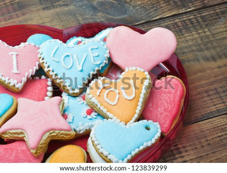 Valentine cookies with the words I love you on the table - stock photo