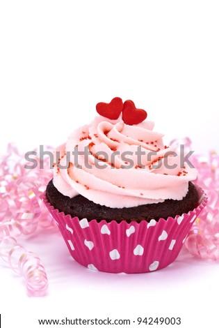 Valentine Cupcake with Hearts - stock photo