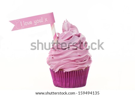 Valentine cupcake with I love you text isolated on a white background - stock photo