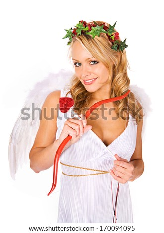 Valentine Cupid: Ready to find love. - stock photo