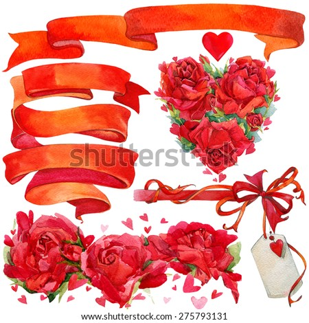 Valentine day background and elements for decoration with ribbon, rose and red heart. watercolor illustration - stock photo