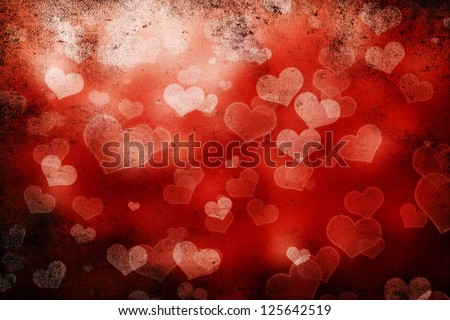 Valentine day background with hearts on black - stock photo