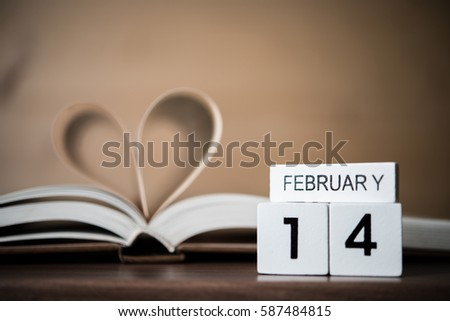 Valentine day book page heart with 14th daytime for celebrate. Celebrity concept.