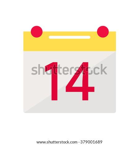 Valentine day calendar icon. Calendar isolated icon on white background. February calendar. Holiday date icon. February 14. Flat style illustration.  - stock photo