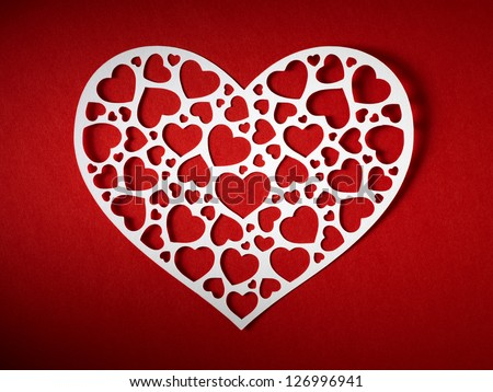 Valentine day card paper cutting design, papercraft. - stock photo