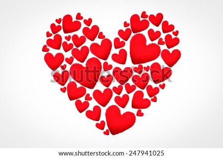 Valentine day heart made of small hearts. - stock photo