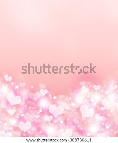 Valentine day love beautiful. Elegant beautiful bright pink bokeh background with shining stardust, hearts and stars and with space for text. Vertical candy pink romantic love postcard concept. - stock photo