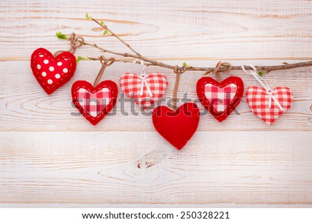 Valentine day love beautiful. Heart hanging on branch of tree on - stock photo