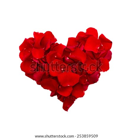 Valentine day love beautiful. Rose petals in heart shape. Top view of square. - stock photo