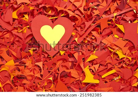 valentine day paper cuttings background with scissors - stock photo
