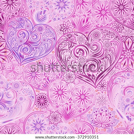 Valentine Day seamless background with hearts and flowers. Hand drawing floral motif vintage  texture.
